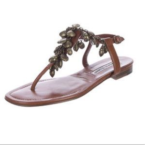 Manolo Blahnik seashell sandal sz34 1/2